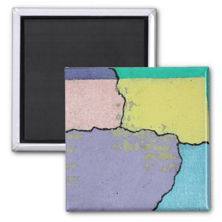 Urban Street Art in Pastels on Cracked Cement 2 Inch Square Magnet