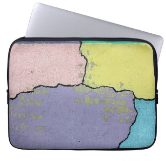 Urban Street Art in Pastels on Cracked Cement Laptop Computer Sleeve