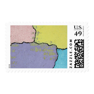 Urban Street Art in Pastels on Cracked Cement Stamp