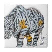 Urban Street Art: Ribbon Rhinoceros Tile