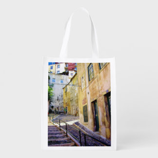 URBAN STREET IN LISBON (MODERN PHOTOGRAPHY) REUSABLE GROCERY BAG