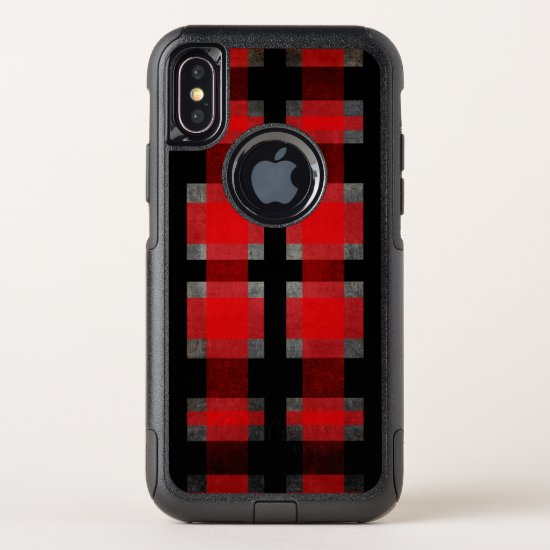 Urban Street Retro Red, Gray and Black Plaid OtterBox Commuter iPhone X Case