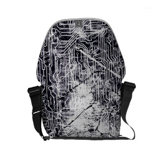 Urban Street Style Circuit Board Grunge Pattern Small Messenger Bag