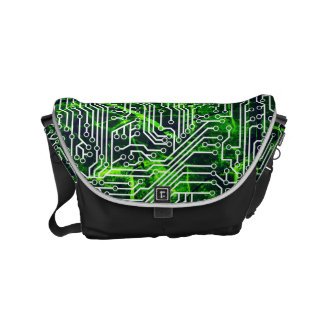 Urban Street Style Green Cybernetic Grunge Pattern Small Messenger Bag