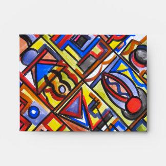 Urban Street Two-Modern Art Geometric Handpainted Envelope