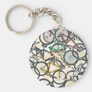urban style bicycle pattern basic round button keychain