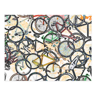 urban style bicycle pattern postcard