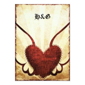 Urban Tattoo Winged Heart  Wedding Invitations. Card