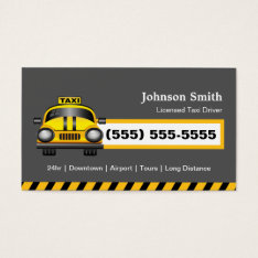 Urban Taxi Driver Chauffeur - Yellow Cap Business Card at Zazzle