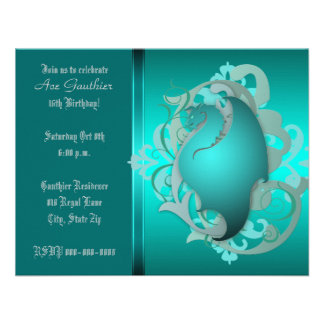 Urban Teal Fantasy Dragon Birthday Party Invite