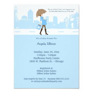 "Urban Tickled Blue Baby Shower Invitation 4.25"" X 5.5"" Invitation Card"