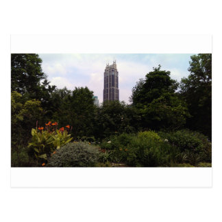 Urban tower and park postcard