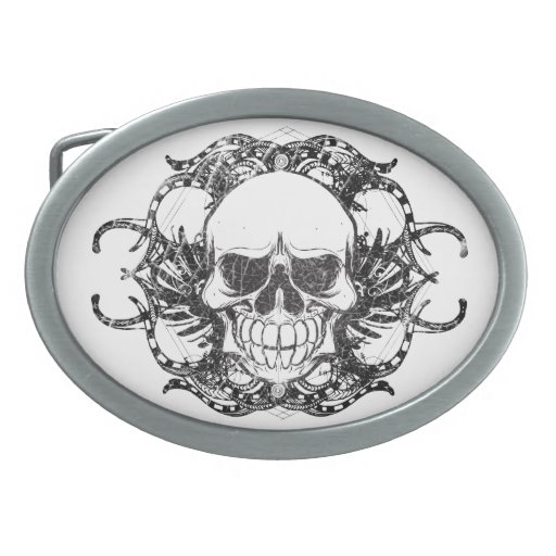 Urban tribal skull belt buckle