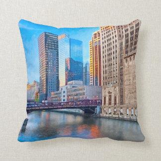 Urban Valleys - Chicago River Throw Pillow
