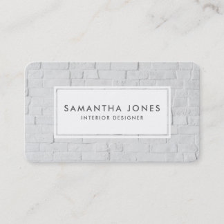 Urban White Brick Simple Modern Interior Designer Business Card