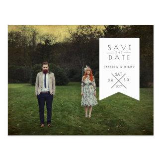 Urban White Ribbon | Save The Date Photo Postcard