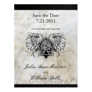 Urban Winged Celtic Knot Save the Date Postcards