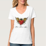 Urban Winged Heart Tattoo design with a crown T-Shirt
