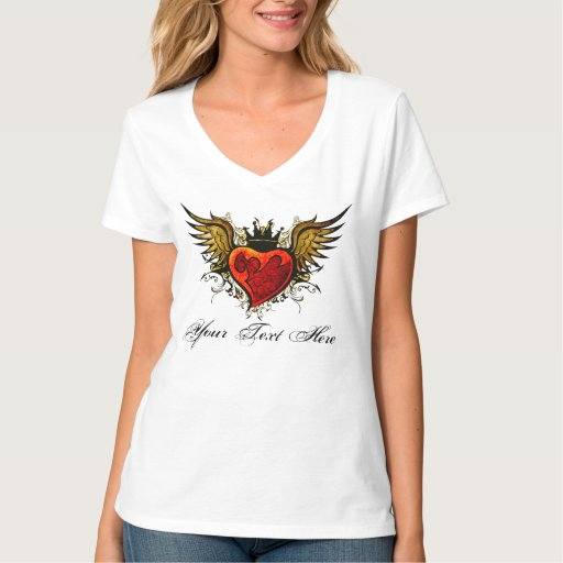 Urban Winged Heart Tattoo design with a crown Shirts