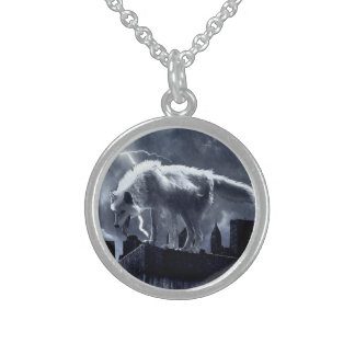 Urban Wolf Round Pendant Necklace
