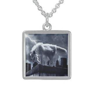Urban Wolf Square Pendant Necklace
