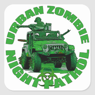 Urban Zombie Night Patrol Square Sticker
