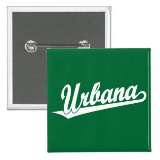 Urbana script logo in white pinback button