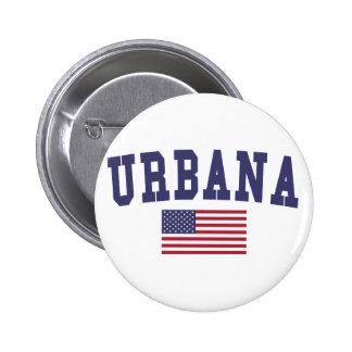 Urbana US Flag Pinback Button