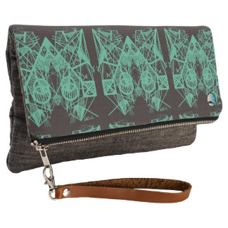 UrbnCape Geometric Green Designer Clutch Bag