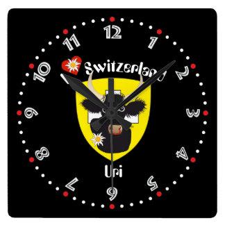 Uri Switzerland Suisse Svizzera Svizra Switzerland Square Wall Clock
