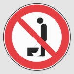Urinating while standing is prohibited classic round sticker