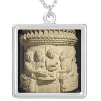 Urn depicting a family meal, from Aquileia Silver Plated Necklace