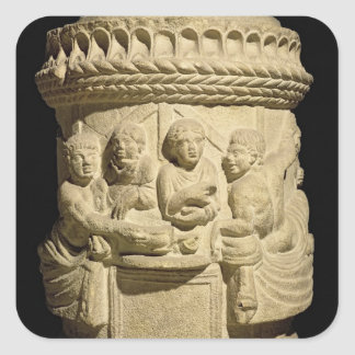 Urn depicting a family meal, from Aquileia Square Sticker