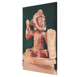 Urn lid with a figure of a warrior canvas print