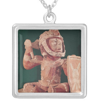 Urn lid with a figure of a warrior silver plated necklace