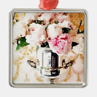 Urn of Roses Metal Ornament