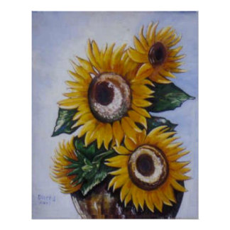 Urn of Sunflowers Painting Poster