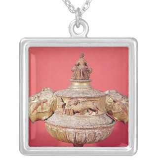 Urn used for dogal elections silver plated necklace