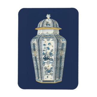 Urna asiática decorativa en azul y blanco imán flexible