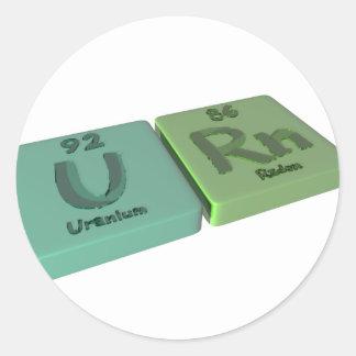 Urna como el uranio de U y radón del Rn Pegatinas Redondas