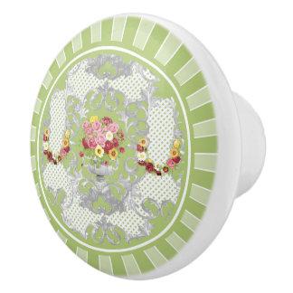 Urna floral del verde inglés de la cabaña pomo de cerámica