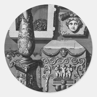 Urna grande de Juan Piranesi- de pórfido Pegatinas Redondas