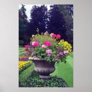 Urna y flores rosadas, flores de Victoria Poster