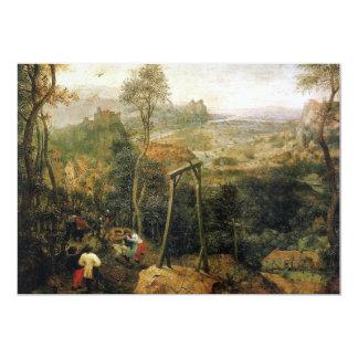 """Urraca en la horca de Pieter Bruegel Invitación 5"""" X 7"""""""