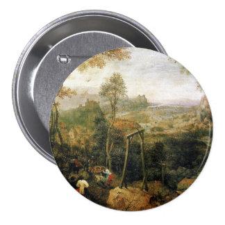 Urraca en la horca de Pieter Bruegel Pin Redondo De 3 Pulgadas