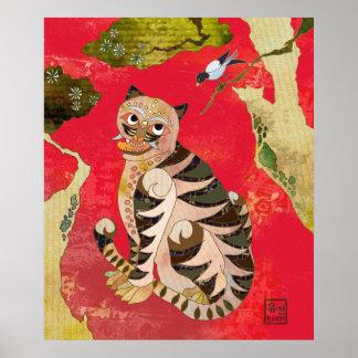 Urraca y tigre Arte popular coreano Impresiones