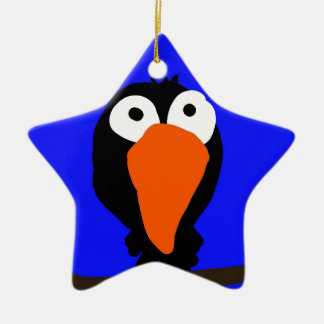 urraco drawing black bird ceramic ornament
