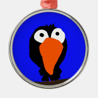 urraco drawing black bird metal ornament