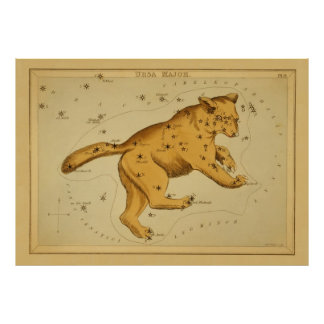 Ursa Major - Vintage Astronomical Star Chart Image