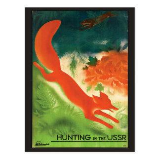 URSS Russia vintage travel postcard fox hunt